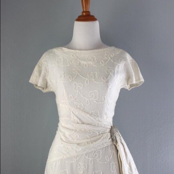 Vintage Dresses | Beautiful 1950s White Linen Wedding Dress | Poshmark